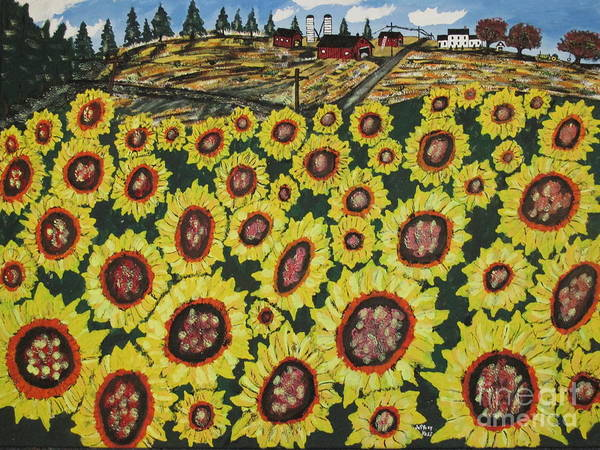 Wall Art - Painting - Sunflower Fields  Forever by Jeffrey Koss