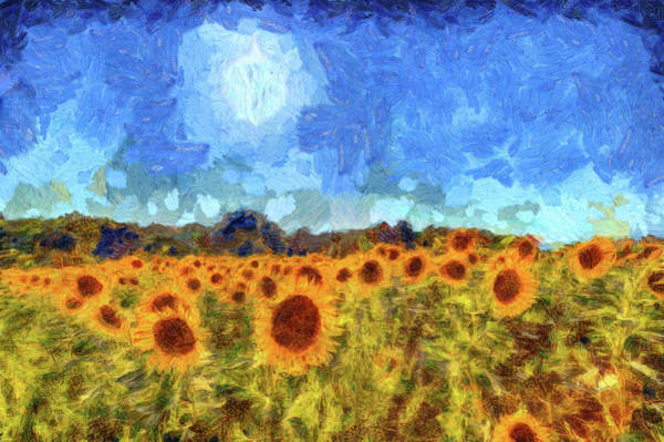 Wall Art - Mixed Media - Sunflower Fields Van Gogh by David Pyatt