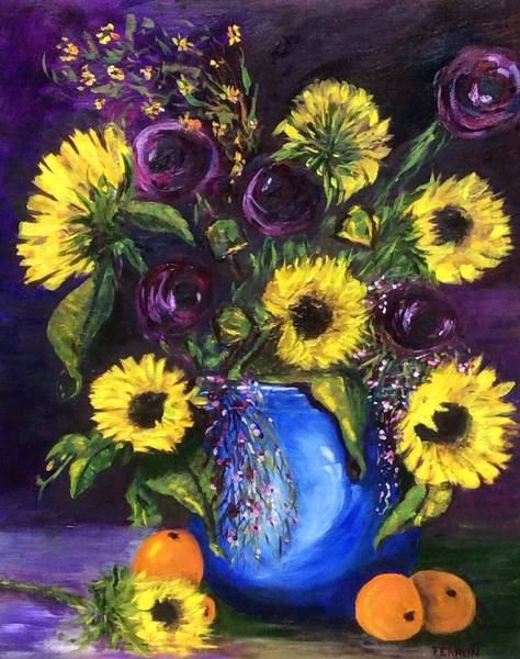 Art Print featuring the painting Sunflower Frenzy by Patti Ferron