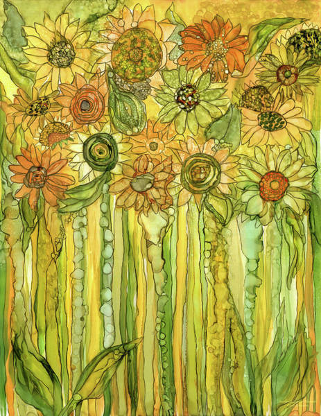 Mixed Media - Sunflower Garden Bloomies 1 by Carol Cavalaris