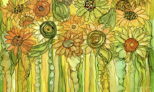 Mixed Media - Sunflower Garden Bloomies 3 by Carol Cavalaris