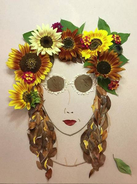 Twig Mixed Media - Sunflower Girl by Susan Combest