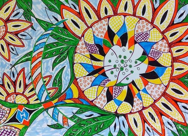 Semi Abstract Drawing - Sunflower by Heather McFarlane-Watson