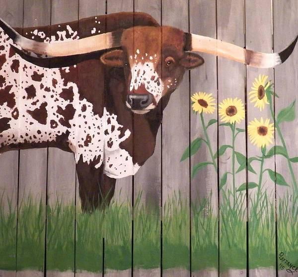 Longhorn Painting - Sunflower Longhorn by Debbie LaFrance