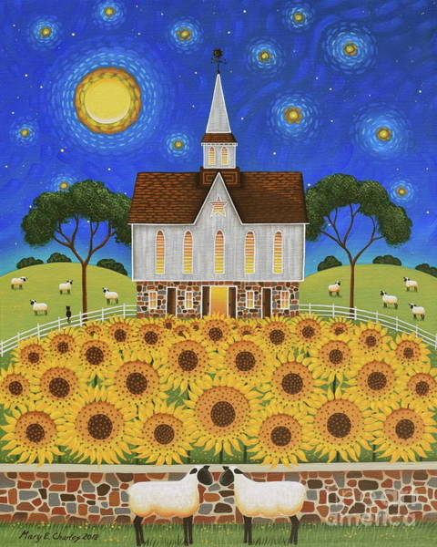 Moon And Stars Wall Art - Painting - Sunflower Moon by Mary Charles