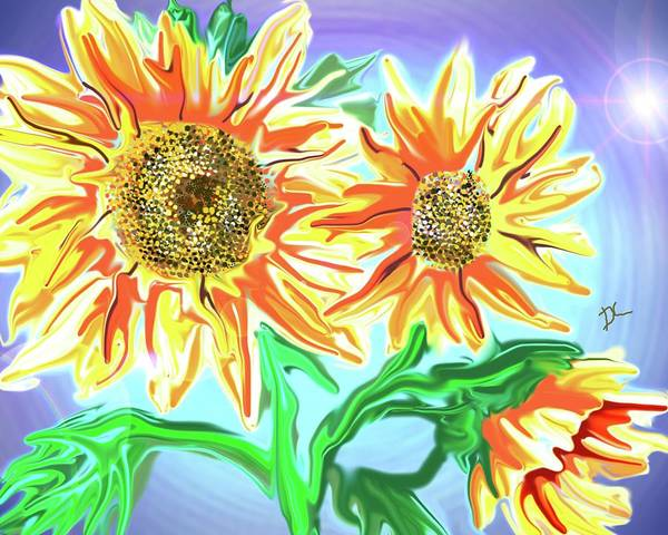 Digital Art - Sunflower On The Computer by Darren Cannell