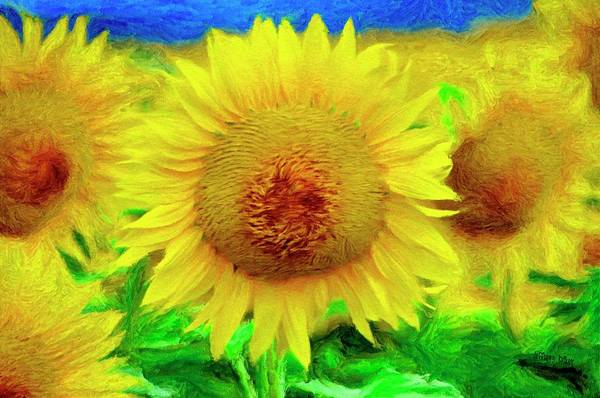 Wall Art - Painting - Sunflower Posing by Jeffrey Kolker