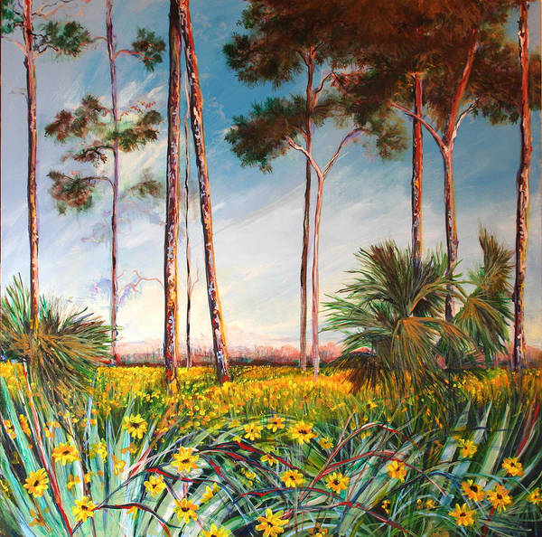 Pine Needles Painting - Sunflower Revival by Michele Hollister - for Nancy Asbell