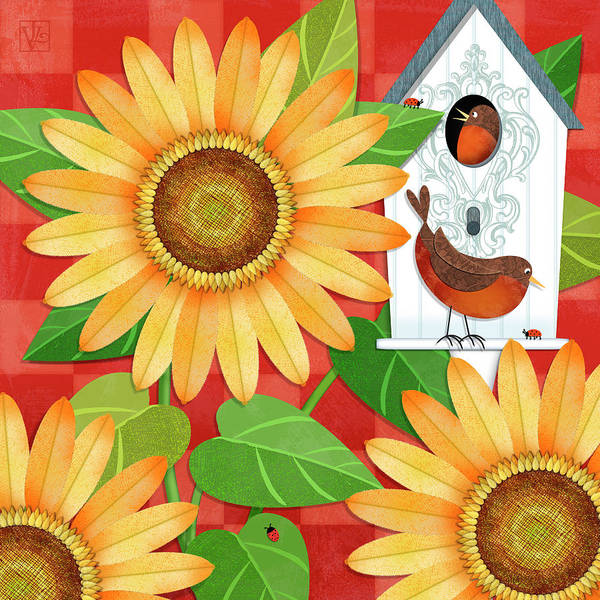 Country House Digital Art - Sunflower Surprise by Valerie Drake Lesiak
