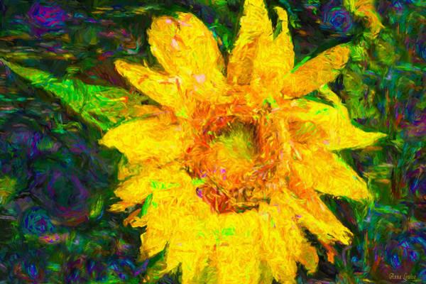 Digital Art - Sunflower Van Gogh by Anna Louise