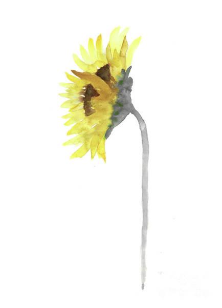 Wall Art - Painting - Sunflower Watercolour Painting Yellow Grey Wall Art Print by Joanna Szmerdt