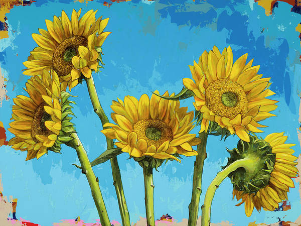 Wall Art - Painting - Sunflowers #5 by David Palmer