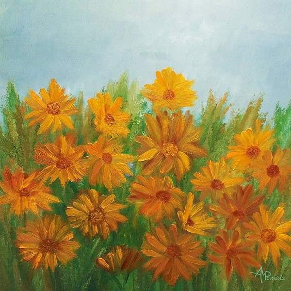 Painting - Sunflowers Abstract by Angeles M Pomata