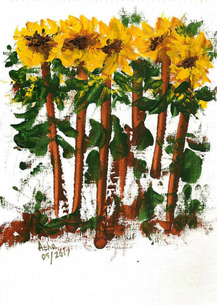Painting - Sunflowers Abstract by Asha Sudhaker Shenoy