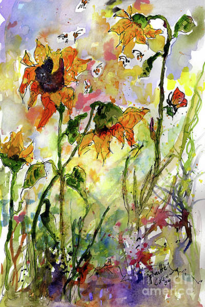 Painting - Sunflowers And Bees Garden by Ginette Callaway