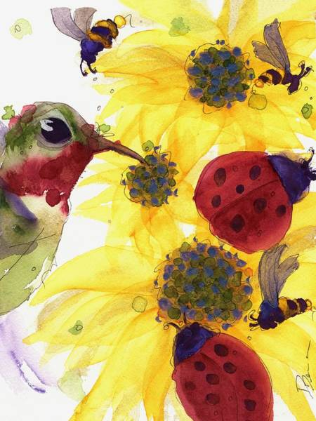 Painting - Sunflowers And Ladybugs by Dawn Derman