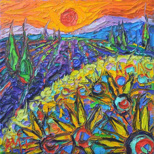 Wall Art - Painting - Sunflowers And Lavender Fields At Sunset 9 Impressionist Knife Oil Painting By Ana Maria Edulescu by Ana Maria Edulescu