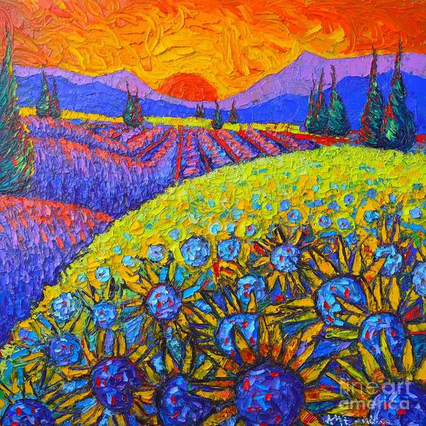 Wall Art - Painting - Sunflowers And Lavender Fields With Cypress Trees At Sunset Abstract Impressionist Landscape by Ana Maria Edulescu