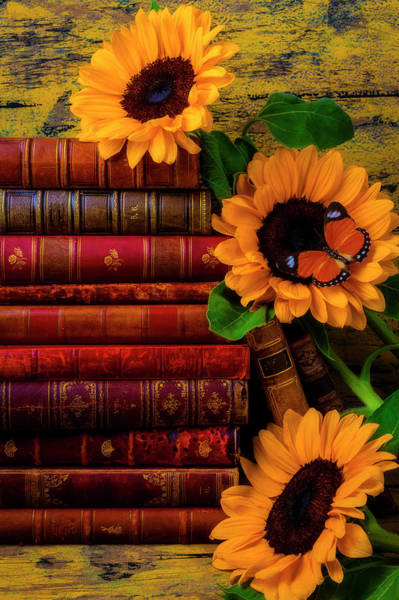 Photograph - Sunflowers And Old Antique Books by Garry Gay