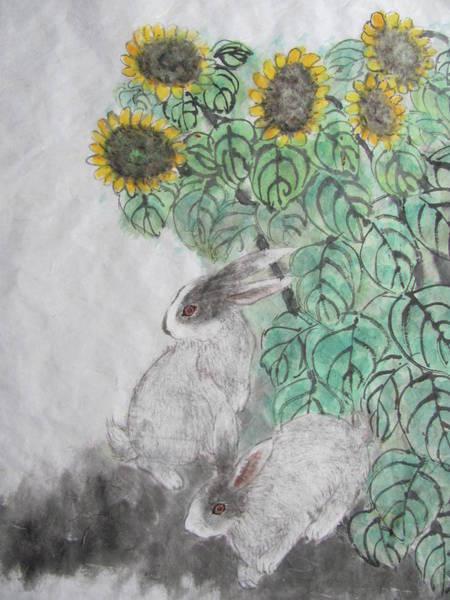 Rabit Painting - Sunflowers And Rabits by Jian Hua Li