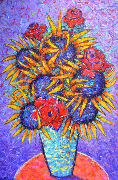 Painting - Sunflowers And Red Roses Modern Impressionist Impasto Palette Knife Oil Painting Ana Maria Edulescu  by Ana Maria Edulescu