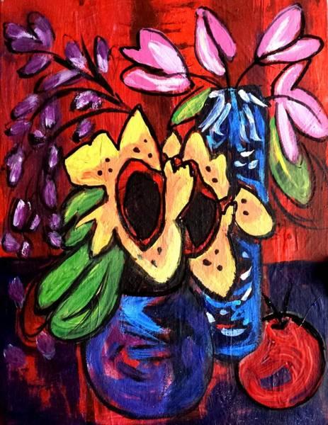 Painting - Sunflowers And Tulips by Nikki Dalton