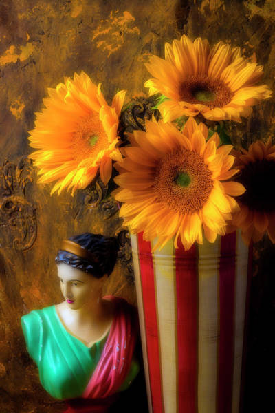 Wall Art - Photograph - Sunflowers And Vintage Bust by Garry Gay