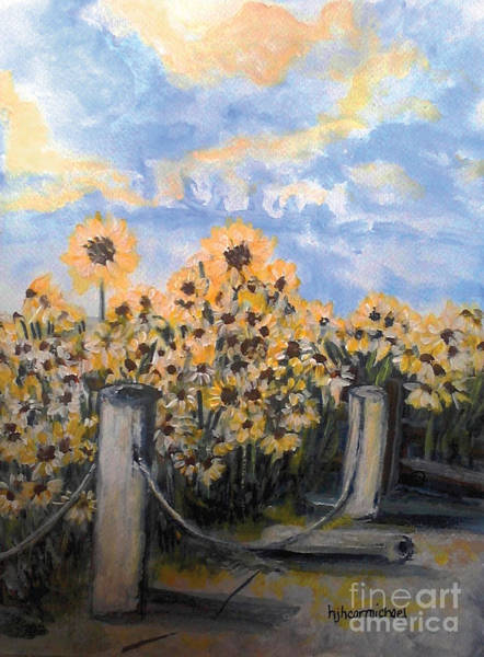 Painting - Sunflowers At Rest Stop Near Great Sand Dunes by Holly Carmichael