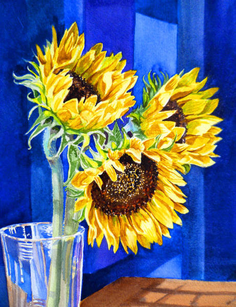 Wall Art - Painting - Sunflowers Blues  by Irina Sztukowski