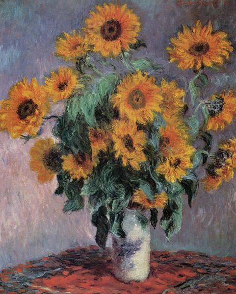 Floral Arrangement Painting - Sunflowers by Claude Monet