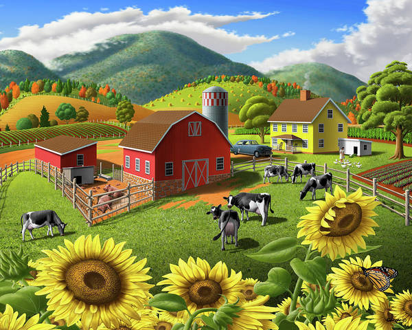 Wall Art - Painting - Sunflowers Cows Appalachian Farm Landscape - Rural Americana - Farm Animals - 1950 Farm Life - Barn by Walt Curlee