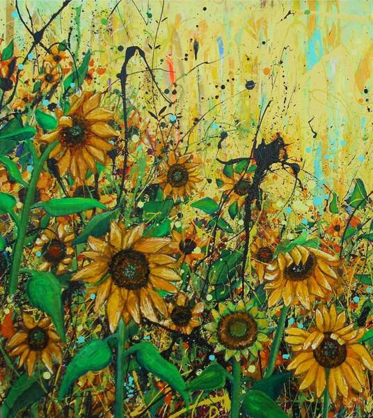 Wall Art - Painting - Sunflowers Detail by Angie Wright