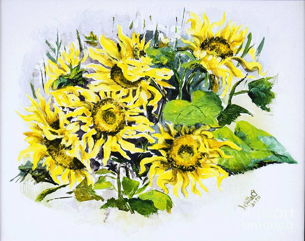 Wall Art - Painting - Sunflowers by Elisabeta Hermann