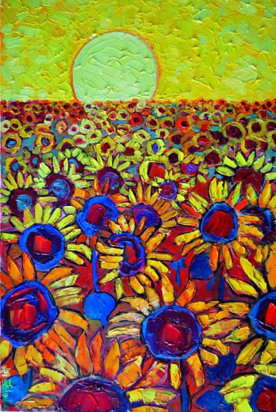 Magic Realism Painting - Sunflowers Field At Sunrise by Ana Maria Edulescu