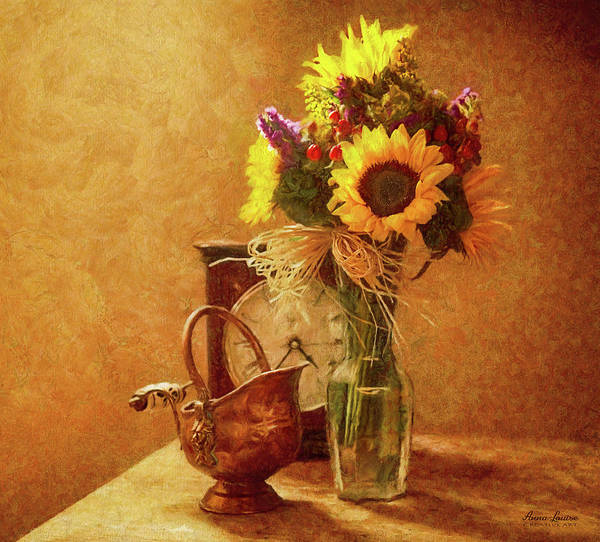 Photograph - Sunflowers Floral Still Life 5 by Anna Louise