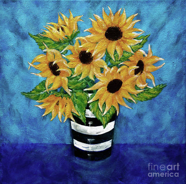 Sunflowers In A Vase Photograph - Sunflowers For Vincent by Cheryl Rose