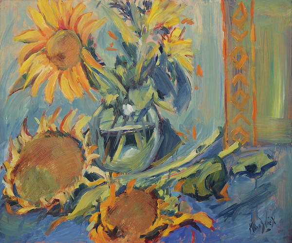 Wall Art - Painting - Sunflowers Fresh And Dried With Vase by Nop Briex