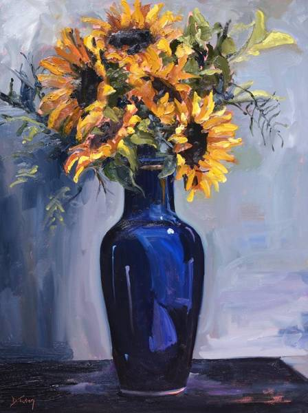 Painting - Sunflowers In A Blue Vase by Donna Tuten