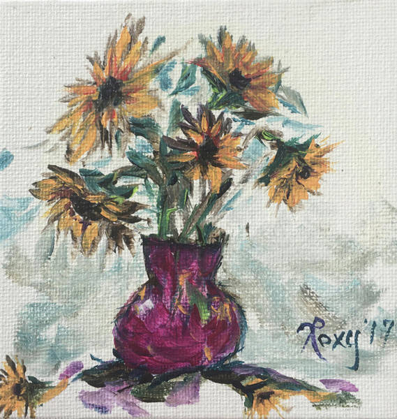 Unique Painting - Sunflowers In A Pink Vase by Roxy Rich