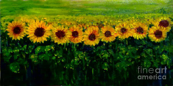 Painting - Sunflowers In A Row by Asha Sudhaker Shenoy