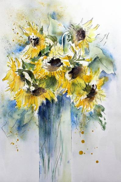 Painting - Sunflowers In A Vase by Joy of Life Art Gallery