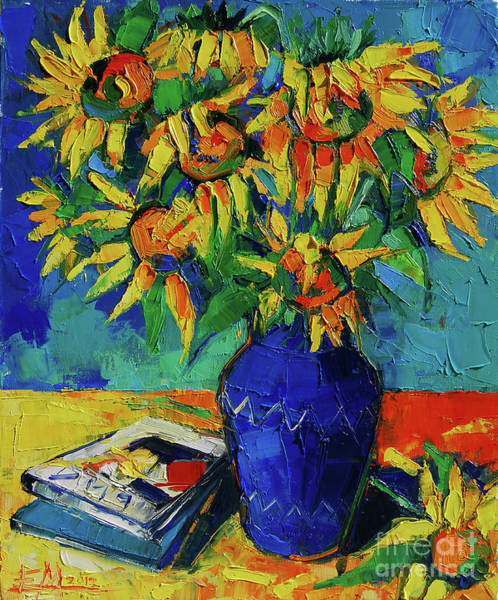 Beauty In Nature Wall Art - Painting - Sunflowers In Blue Vase by Mona Edulesco