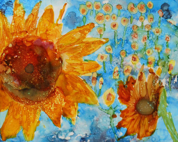 Painting - Sunflowers In Fields by Pam Halliburton