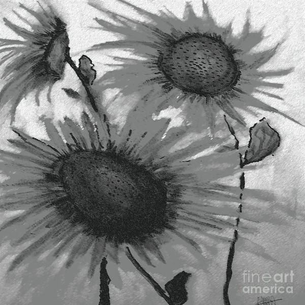 Low Key Digital Art - Sunflowers In Grayscale by Maura Satchell
