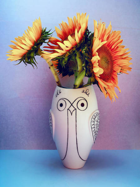 Wall Art - Photograph - Sunflowers In Owl Vase Tournesol by William Dey