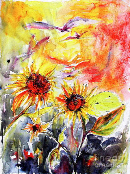 Painting - Sunflowers In Summer Garden Modern Watercolor And Ink by Ginette Callaway
