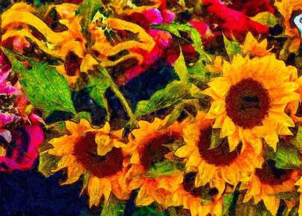 Fleur Digital Art - Sunflowers by Jean-Marc Lacombe