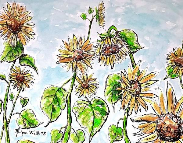 Thumb Painting - Sunflowers by Monique Faella