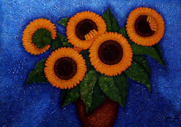 Acrilic Painting - Sunflowers Of My Hope II by Madalena Lobao-Tello
