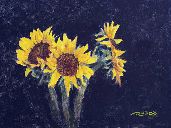 Painting - Sunflowers On Black by Christopher Reid